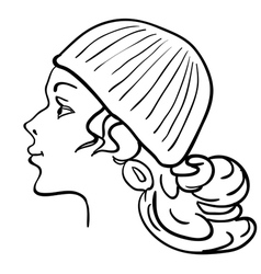 hand-drawn fashion model womans face a hat vector image vector image