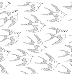 Seamless pattern with swallow bird flying hand vector image vector image