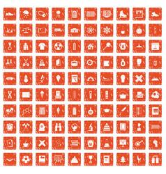 100 school years icons set grunge orange vector image vector image