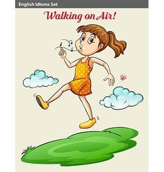 A girl walking on air vector