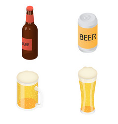 beer bottles glass icons set isometric style vector image