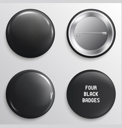 blank black glossy badges or web buttons vector image