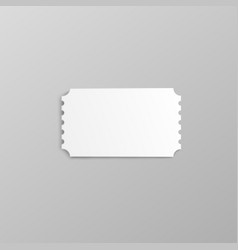 Blank white movie ticket stub mockup with ripped vector