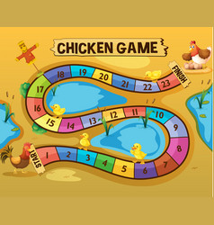 Boardgame template with chickens by the pond vector