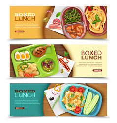 Boxed lunch horizontal banners vector