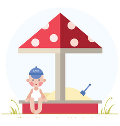 Boy playing in sandbox vector