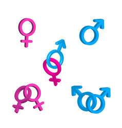 Bright men and women gender signs vector