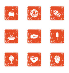 Brownie icons set grunge style vector