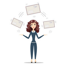 businesswoman holding big envelope vector image