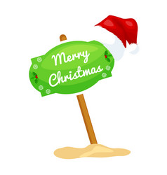 cartoon sign with festive text merry christmas vector image