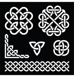 Celtic Irish knots braids and patterns in white vector