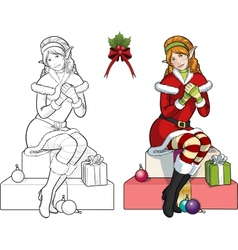 Christmas elf red Caucasian girl with mistletoe vector image