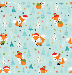 christmas seamless pattern with cute little foxes vector image