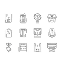 Climate appliances linear icons set vector image