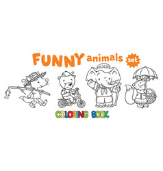Coloring book set of funny baby animals vector