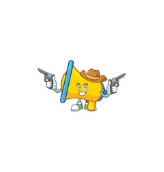 Cowboy yellow loudspeaker cartoon character for vector