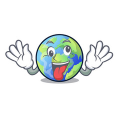 crazy earth isolated with in the cartoons vector image