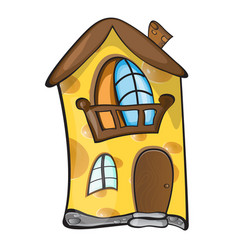 creative concept - small house made of yellow vector image