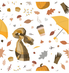 Cute autumn seamless pattern with cosy hand drawn vector