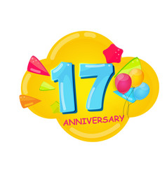 cute cartoon template 17 years anniversary vector image