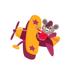 cute cute animal mouse flies on a funny plane vector image