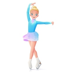 Cute smiling young girl figure skating on vector