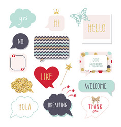 cute speech bubbles with hand written words girly vector image