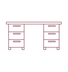 Dark red line contour of wooden office desk vector
