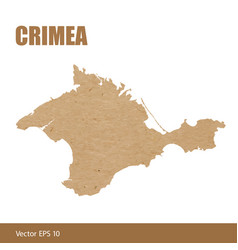 Detailed map of crimea cut out of craft paper vector