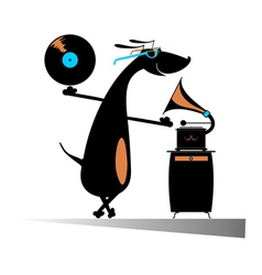 Dog music lover vector