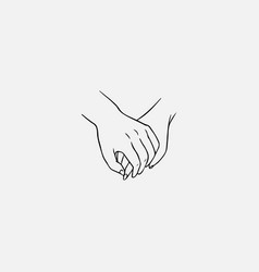 Drawing of one hand clasping other isolated on vector