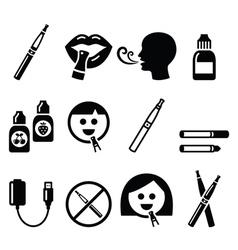 Electronic cigarette e-cigarette and accessories vector