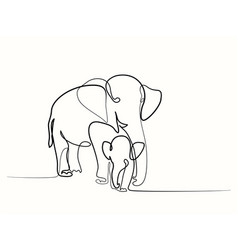 elephant with baby vector image