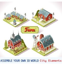 Farm Tiles 03 Set Isometric vector image