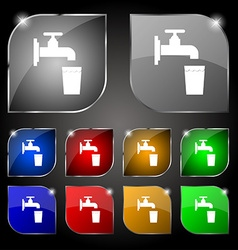 faucet glass water icon sign Set of ten colorful vector image