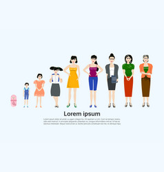 Female age set different stages of life woman vector