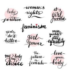 feminism quotes set handwritten modern vector image