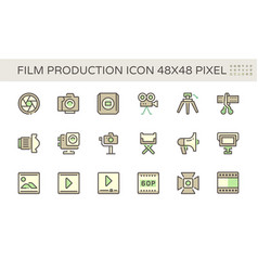Film and film production icon set design 48x48 vector
