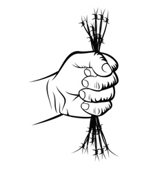 Fist and barbed wire vector image