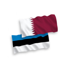 Flags qatar and estonia on a white background vector