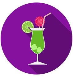 flat design modern cocktail icon with long vector image