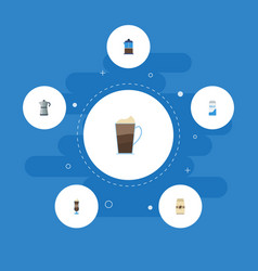 Flat icons french press seed pack mocha and vector