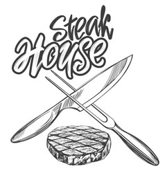 Food meat steaksteak house logo knife and vector