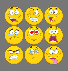 funny yellow cartoon emoji face collection - 1 vector image