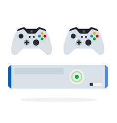 Game console with controllers icon flat isolated vector