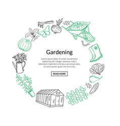 gardening doodle icons in circle form vector image