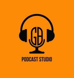 Gb monogram headphone and microphone style vector