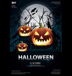 halloween poster template design vector image