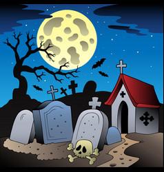 halloween scenery with cemetery 1 vector image