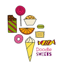 Hand drawn icon set of cookies chocolates cakes vector image